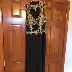 Black with Gold patterned Prom Dress